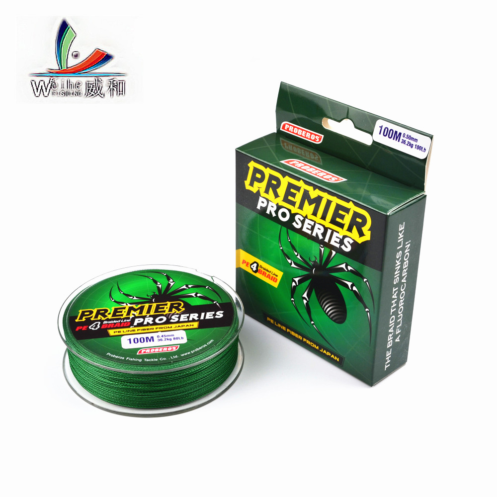 1pcs 100m Solid Trong Horse Fishing Line 5 Color PE Line 0.4 # -10 # Weaving Line Green Standard For Fishing Tools Accessories