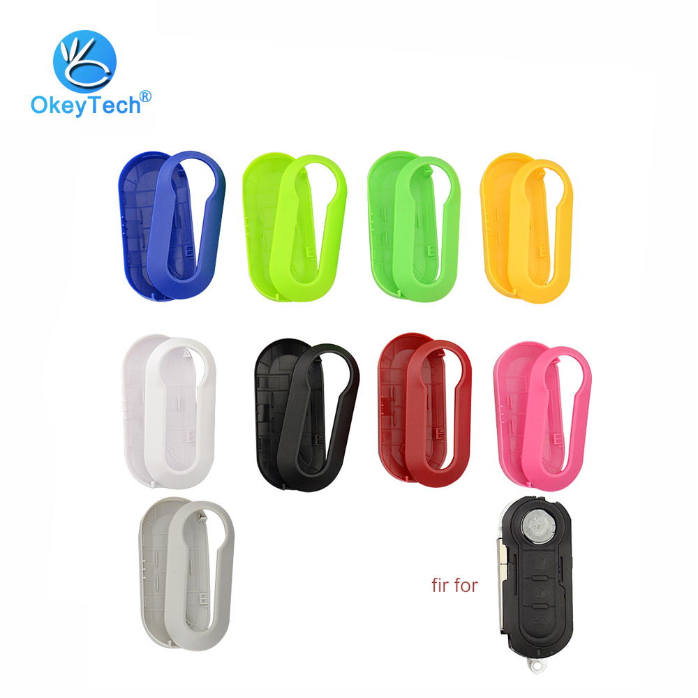 OkeyTech Colorful Remote Car Key Shell Cover Replacement Protective Case for Fiat 500 Panda Punto Bravo Flip Folding 3 Button free shipping flip remote key shell colorful replacement cover shell for fiat 500 panda punto bravo case