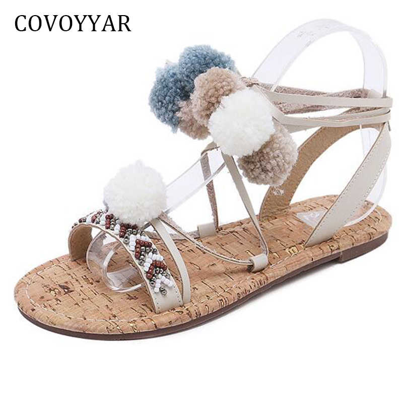 0d22c953440 COVOYYAR 2019 Boho Fur Ball Gladiator Sandals Women Summer Pom Pom Flat  Lady Sandals Ankle Strap