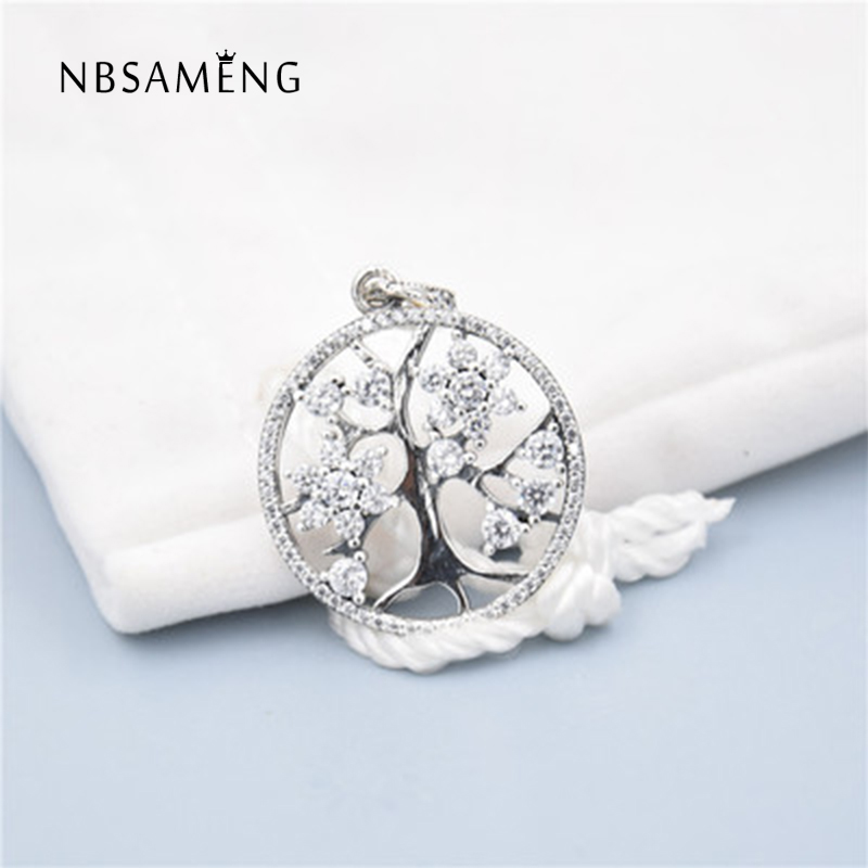 Promotional style 925 Sterling Silver Round Life tree Beads With Crystal Beads Fit Pandora Charm Bracelet Jewelry Gift