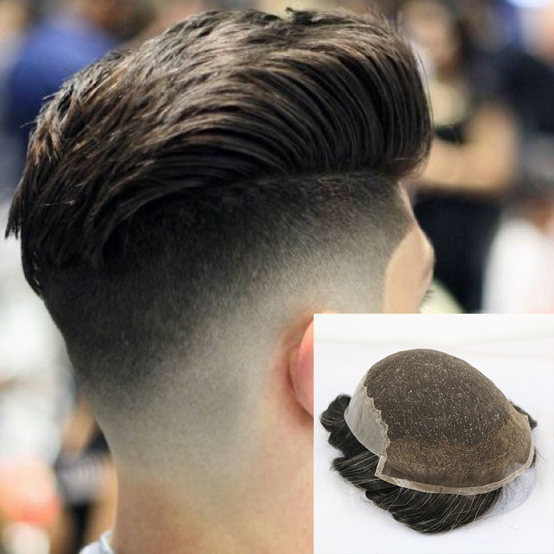 Q6 Base Peruk French Lace With Skin Back Men Toupee Vario Color Remy Human Hair Mens Hair