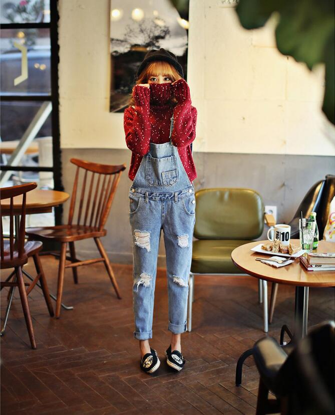 Women Jumpsuit Denim Overalls Hot Female Denim Salopette Pants Jeans Coverall With Holes Fashion Rompers Free shipping  2016 hot sale denim overalls women new arrival autumn winter denim bib pants female jeans rompers harajuku woman jeans lx6107