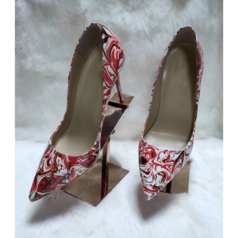 Classical Design Pointed Toe Shallow Colorful Print Women High Heels Dress Shoes