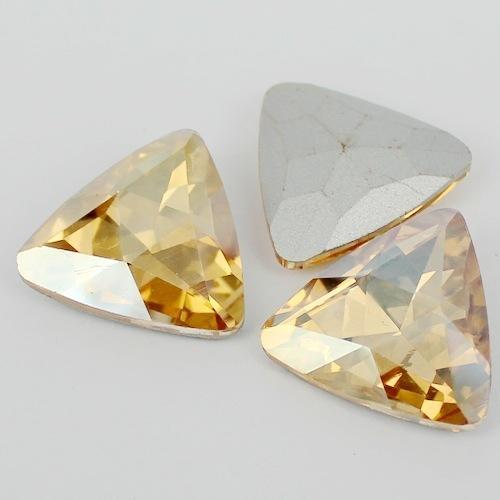 Forma de Triângulo De Cristal Extravagante Stone Point Voltar Vidro ouro Sombra Accessory.12mm de Pedra Para A Jóia DIY 18mm 23mm
