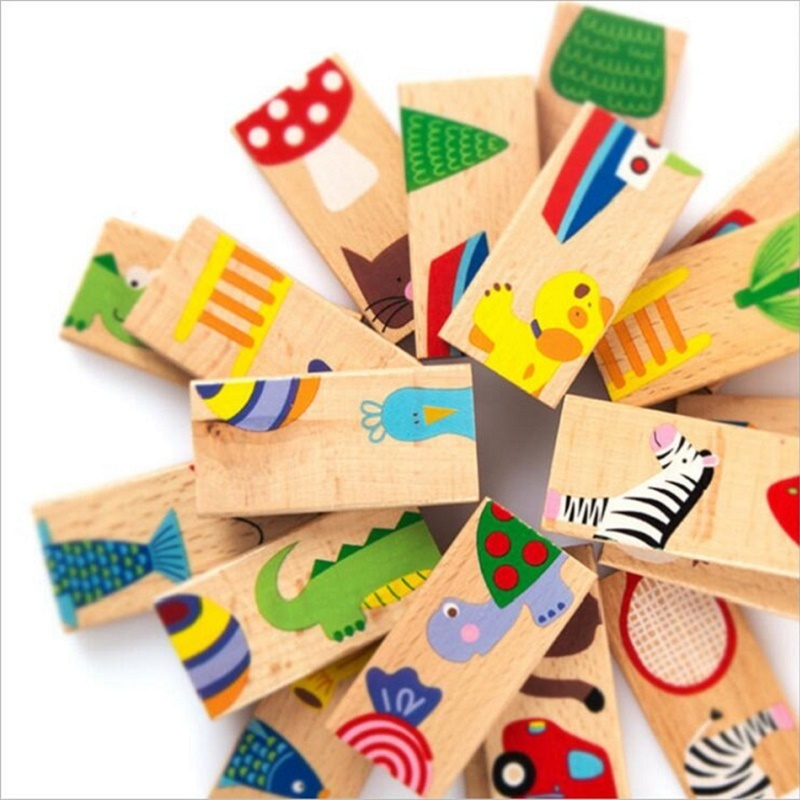 Domino Blocks 28pcs Early Education Childhood Wooden Building Block Toys Children Standard Animal Pattern Domino Blocks Toy 200 sets of wooden pile two scenes bottled blocks children s early childhood educational toys