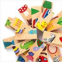Softplaykinder Montessori Holz Domino Blöcke Spielzeug Set 28 STÜCKE mit Tier Muster Hohe Qualität Geschenk für kinder WD148