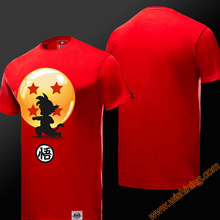 Wishining 2017 New Dragon Ball Son Goku Tshirts Red 3xl Short Sleeve Man Cotton Tees