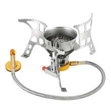 Lixada Outdoor Camping Foldable Wind Resistant Gas Stove with Piezo Ignition Lightweight Folding Cooking Camp Stove Carry Box mini camping automatic ignition stove portable electronic ignition fogao cooker outdoor cooking camp gaz kamp ocak