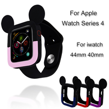 цена на Silicone Watch Case For Apple Watch 4 Cute Mickey Protective Cover For iwtch 44mm 40mm Bumper Frame Protective Shell Accessories