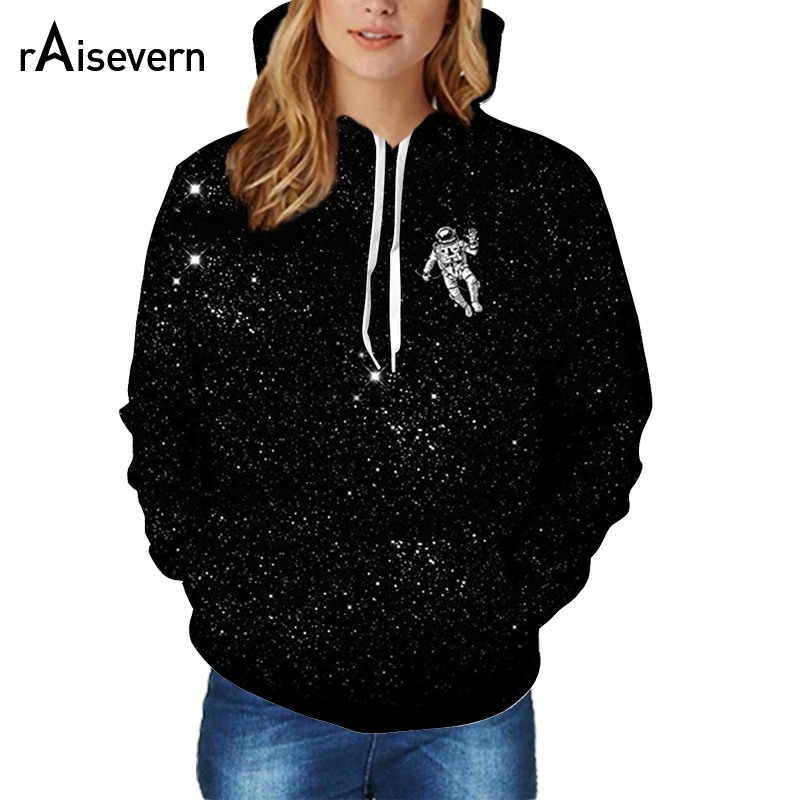 Raisevern New Space Astronaut Hoodies 3D Fashion Pullovers Men Women Unisex Long Sleeve Black Galaxy Space Hoody Tops Dropship