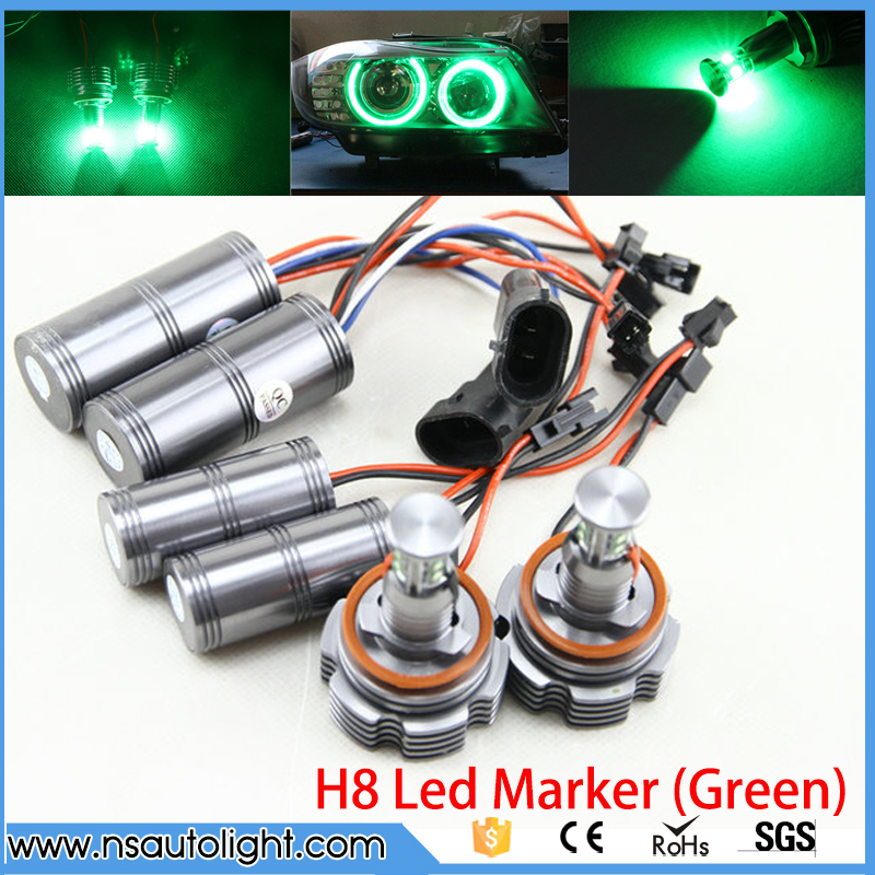 2*40W H8 Angel Eyes LED Marker CREE LED Chips XENON Green for BMW E90 E92 X5 E71 X6 E82 M3 E60 E70 h8 20w cree angel eyes led marker light drl for bmw e82 e87 e90 e91 e92 m3 e93 e60 e61 e63 e64 e70 x5 e71 x6 e89 z4 king deluxe