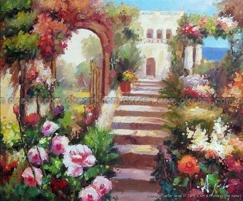 Buy 100 Hand Painted Italian Beach Flowers Estate Rose Garden Oil Painting