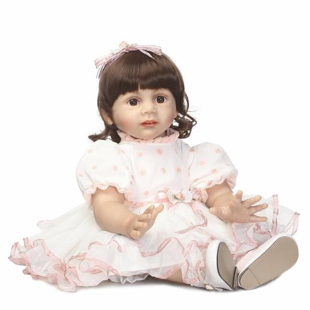 Realistic Soft Silicone Reborn Dolls NPK 58 cm Handmade alive Girl simulation toddler Toys Baby clothes model Kids playmates