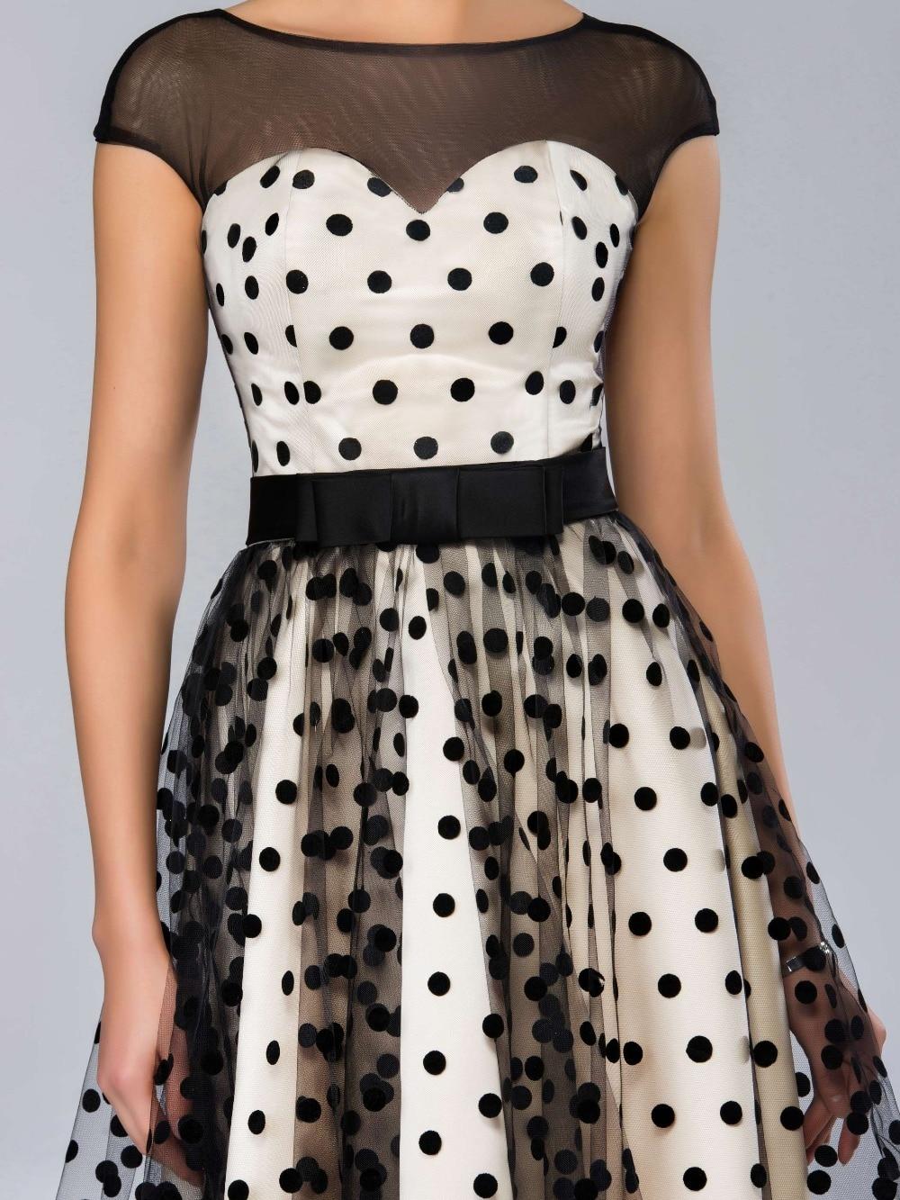 Dressv Knee-length Cocktail Dresses 2019 Polk Dot Pattern Dresses to Party Homecoming Dresses Sheer Boat Neck Graduation Dresses