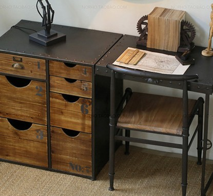 Charmant Folding Desk LOFT Industrial Wind Mash Office Desk Iron Tables To Do The Old  Retro Wood