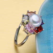 FENASY freshwater natural pearl jewelry female,wedding Rings for women,engagement ring retro ruby jewelry