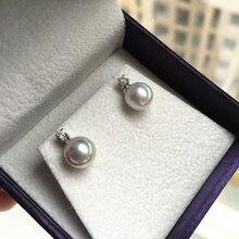 Women Gift word 925 Sterling silver real Japan Akoya permanent natural Grey Pearl Stud Earrings to Princess 7-7.5 mm circle
