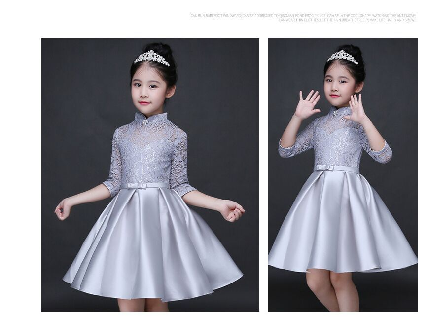 HTB1rPS2QFXXXXc8XVXXq6xXFXXXi - Baby Girl Kid Evening Party Dresses For Girl Wedding Princess Clothing 2017 New Solid Color Bow Moderator Dress Children Clothes