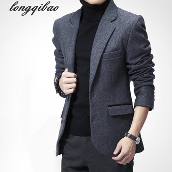 casual suit jacket Europe and the United States woolen Slim suit thick Blazers