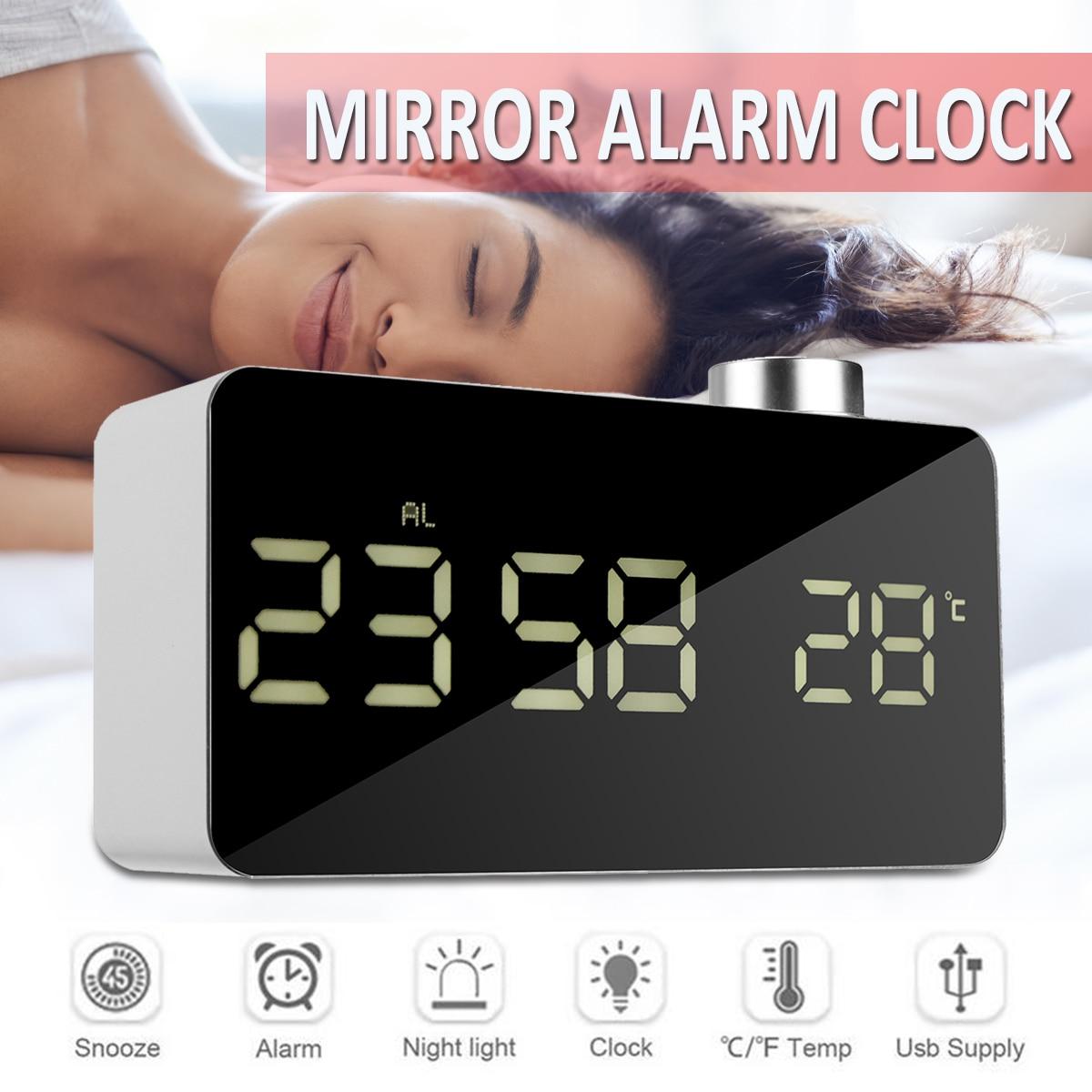 Digital Mirror Led Alarm Clock Night Lights Snooze Desktop