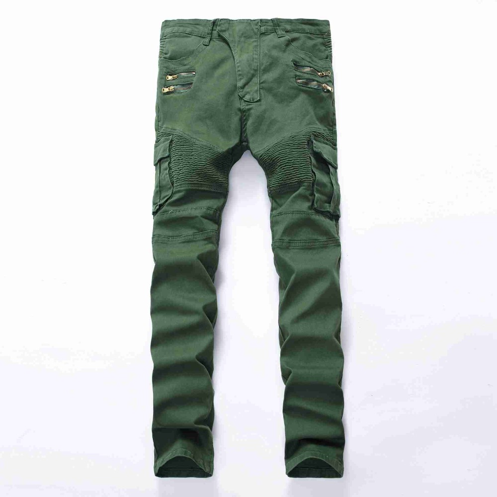 #1944 2016 Army men biker jeans with zippers Motorcycle pants Fashion Slim fit Militar Denim biker jeans homme brand clothing