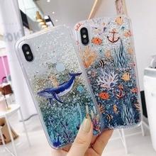 For Samsung Galaxy S7 Edge S8 S9 S10 Plus Lite Cases Whale Coral Liquid Quicksand Silicone Cover Note 8 9 Coque Capa