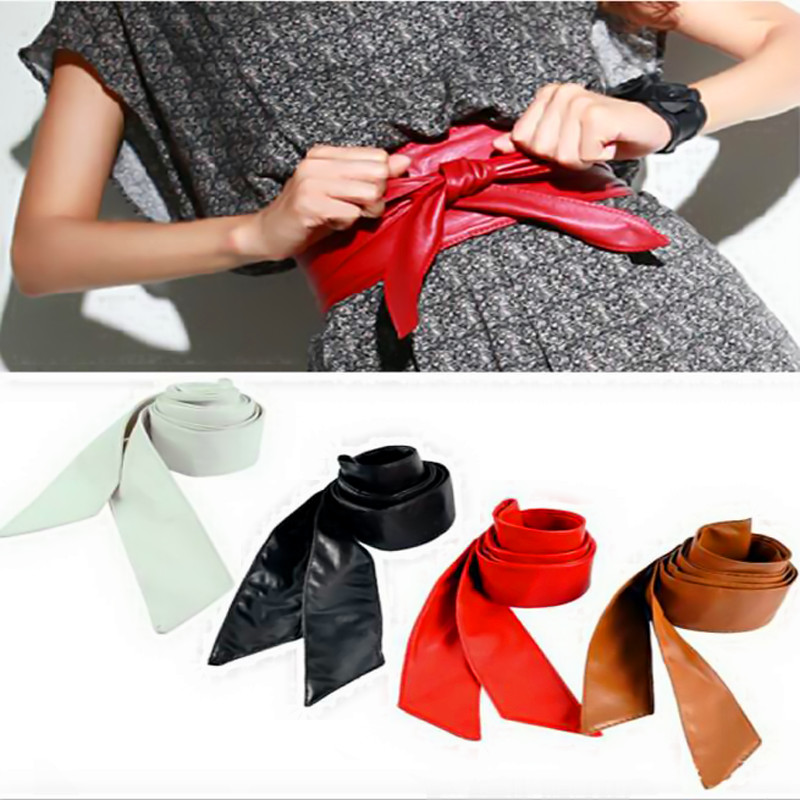 2017 Sale  10 Colors 1PC Fashion Women Soft Leather Wide Waist Belts Bow for Dress Clothes Accessories