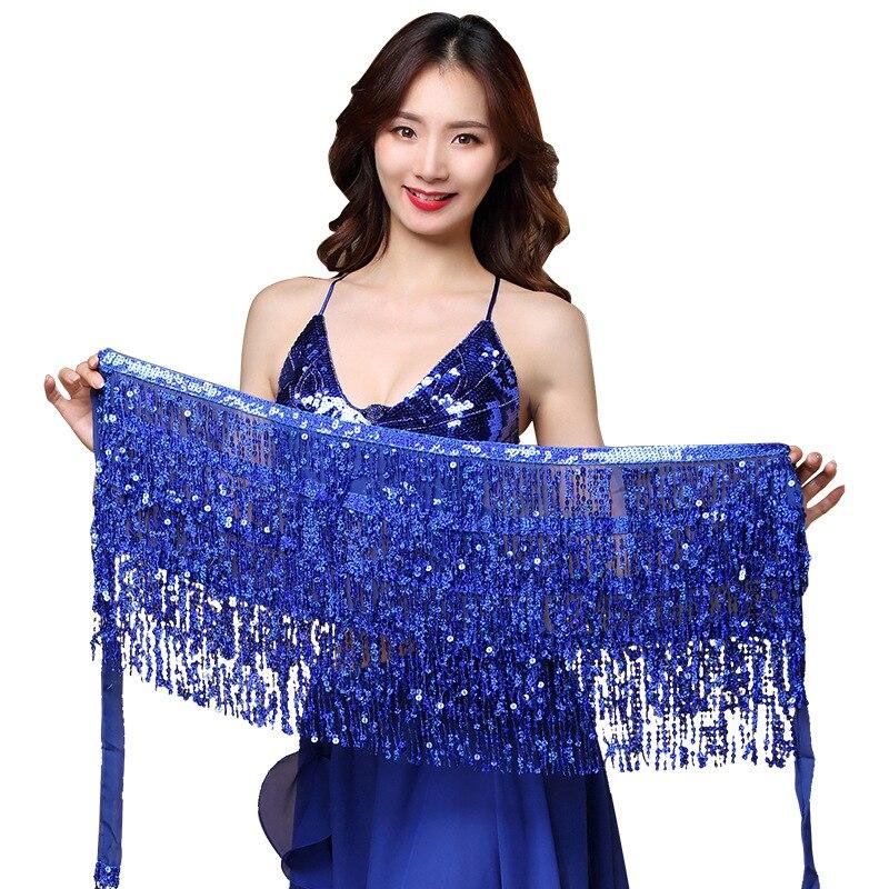 15 Colors Women Bellydance Clothing Accessories Tassel Belts 4 Rows Strips Belly Dance Hip Scarf Sequins Belt Rectangle