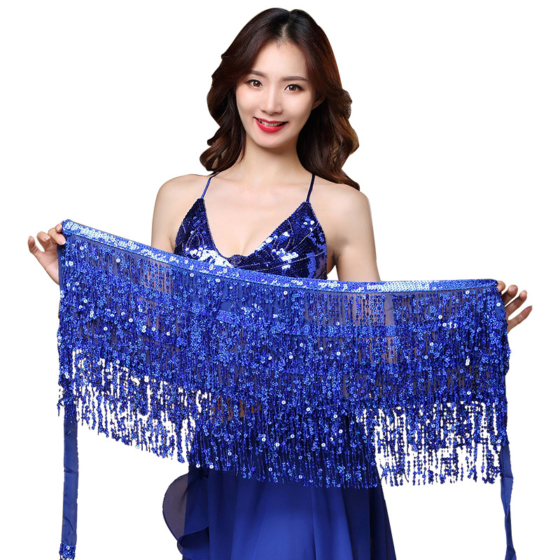 15 Colors Women Bellydance Clothing Accessories Tassel Belts 4 Rows Strips Belly Dance Hip Scarf Sequins Belt Rectangle