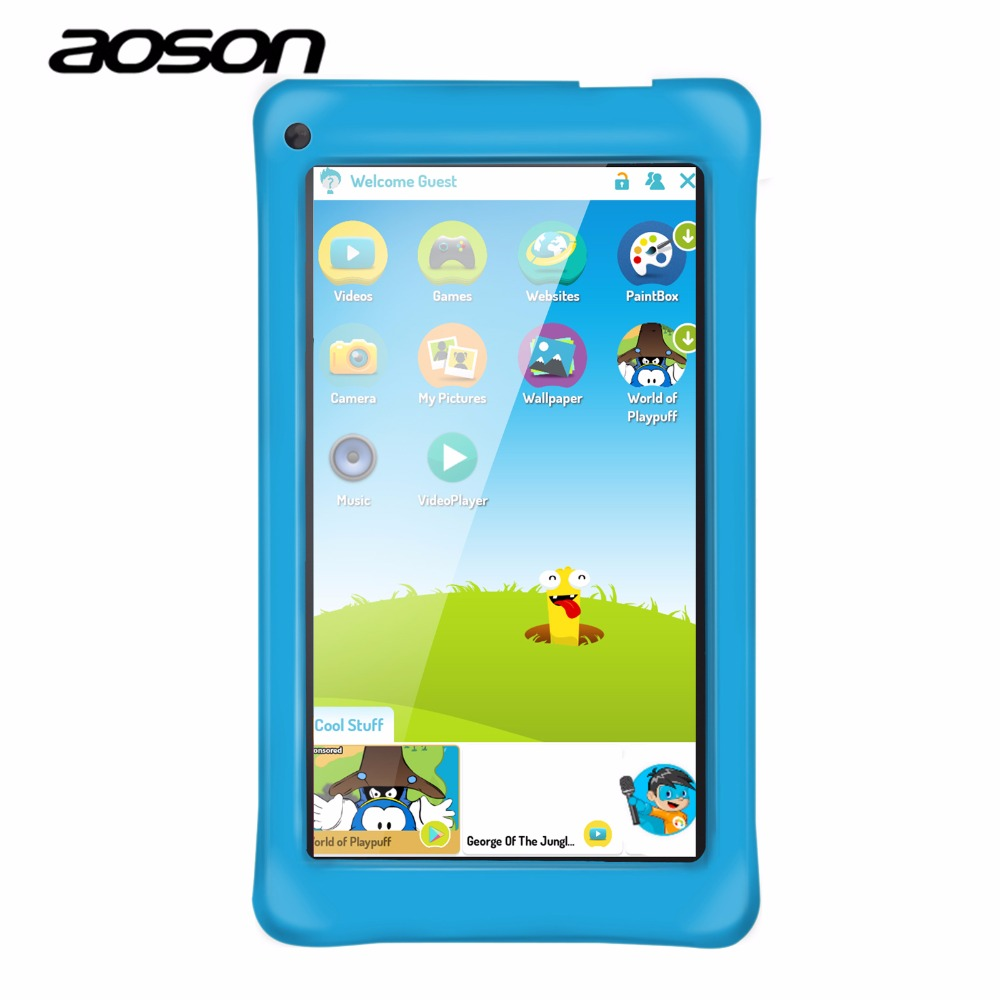 High Quality 7 Inch Kids Tablet PC Aoson M751-S Android 5.1 Quad Core Allwinner A33 IPS 1024*600 1GB RAM 8G ROM WIFI Dual Camera car charger for tablet pc cube u10gt u10gt2 aoson m19 more black dc 9v