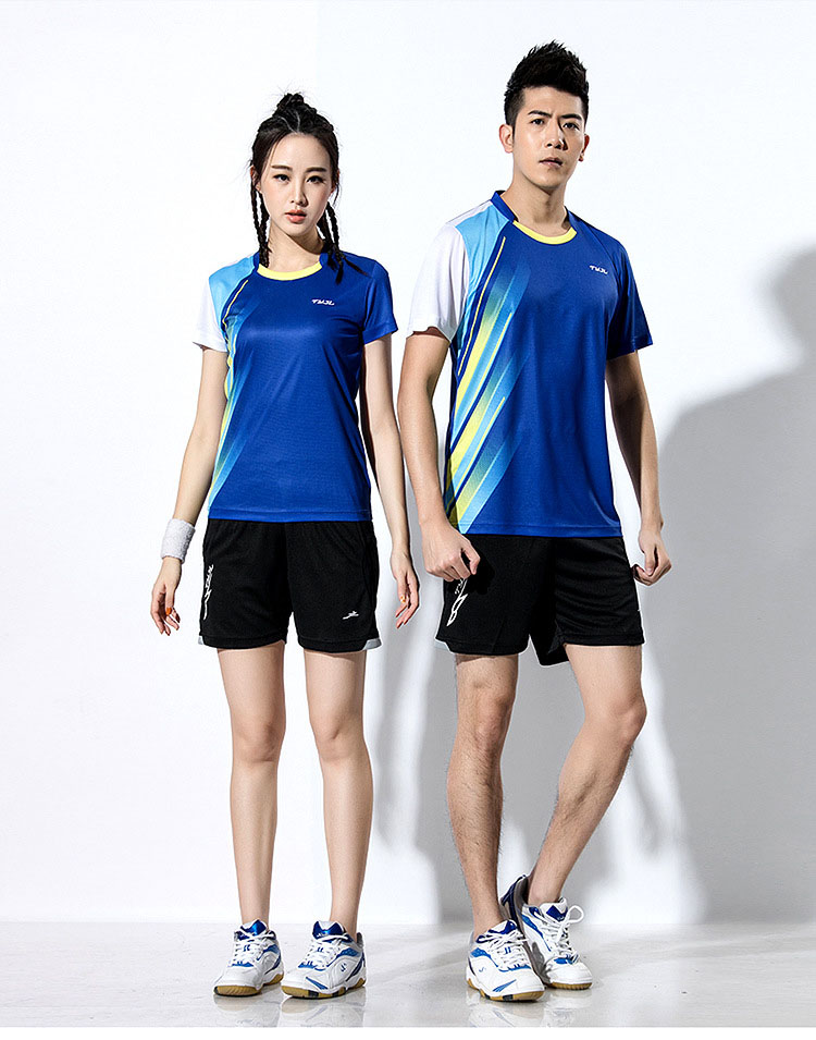 2018 Shirt Tennis Male / Female , Polyester Polo Sport T-shirt , t shirts tennis men , Badminton shirt, table tennis Jersey Blue