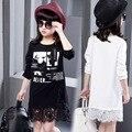 Adolescente niños niñas carácter vestidos de primavera verano 2017 de manga larga de encaje patchwork girl dress blanco negro embroma la ropa vestidos