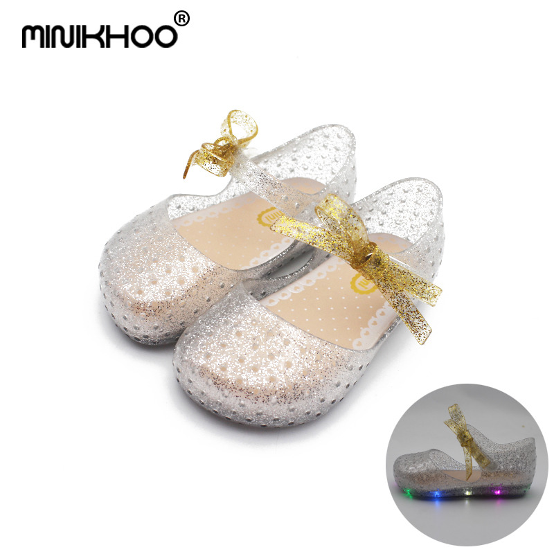 Mini Melissa LED Sandals Crystal Shoes Girl Jelly Sandals Children Sandals Baby Jelly Sh ...
