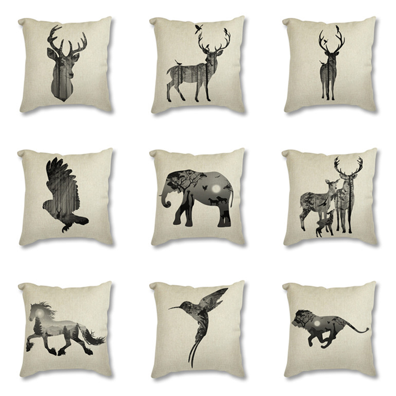 Nordic Linen Cotton Cushion Cover Pillowcase Black Animal Silhouette Deer Art Printed Seat Decorative Cushion Cover For Sofa