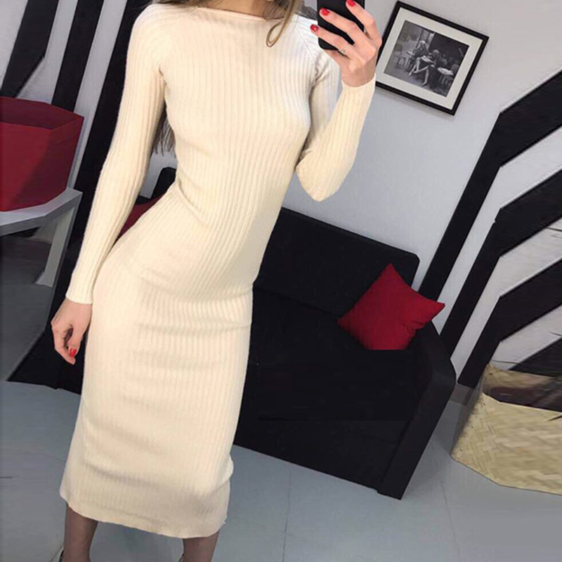 Autumn Winter Women Knitted Bodycon Dress Shinny Long Sleeve Sweater Dresses Vestidos WS4024C