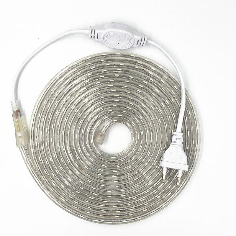 IP67 5050 Flexible LED Strip Light AC220V 60leds/m Waterproof IP67 Led Tape LED Light With EU Power Plug 1M/2M/3M/5M/10M/15M/20M