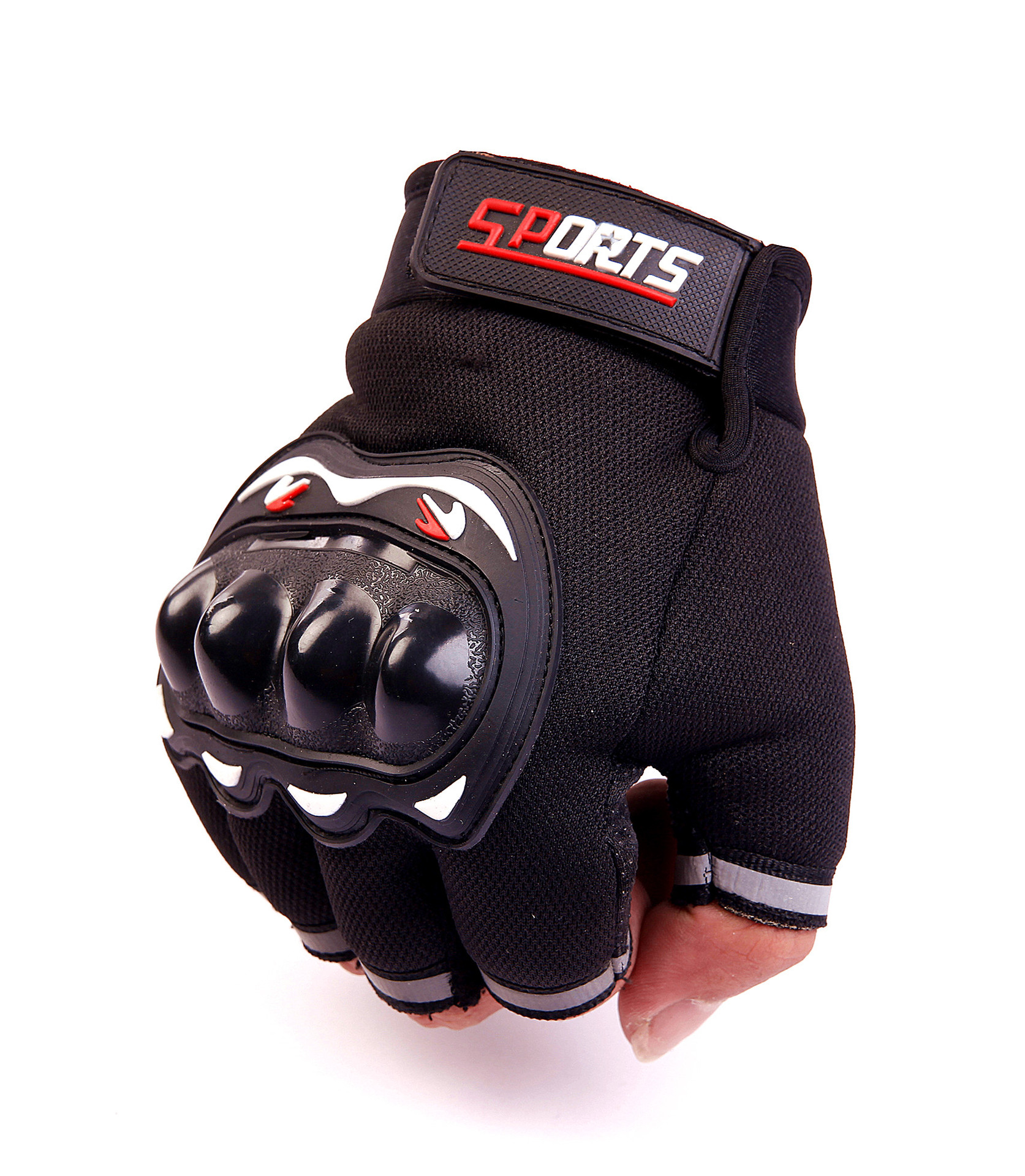 Protective anti-collision half finger gloves leather protective gloves men's leather gloves driving gloves riding gloves(China)