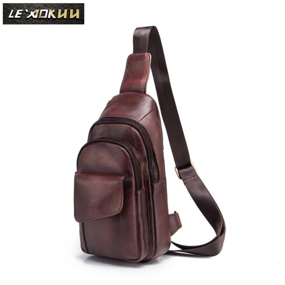 Men Original Crazy Horse Leather Casual Fashion Crossbody Chest Sling Bag Design Travel One Shoulder Bag Daypack Male 8013w