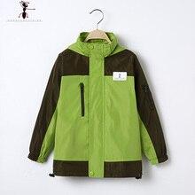 Мальчики Весна Осень Водонепроницаемый GFMY Зеленый Синий Дети Известный Бренд Куртка С Капюшоном 1090