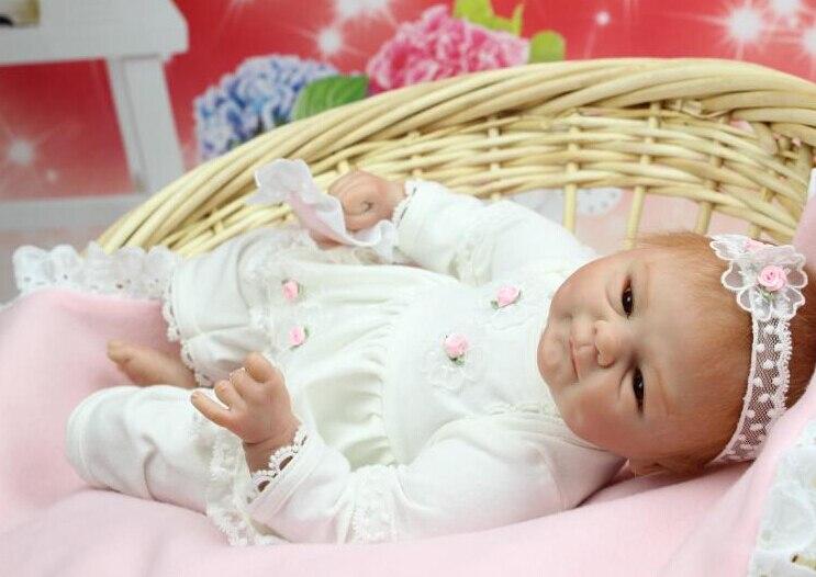Nouveau 40 cm belle Silicone Reborn bébé poupée jouet anniversaire cadeau de noël pour enfant enfant fille Brinquedos corps doux bébé Reborn-in Poupées from Jeux et loisirs    3