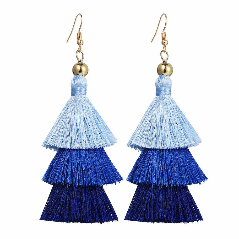 17KM Bohemian Multilayer Tassel Earrings Hook For Women Colorful Oversize Statement Earring Dangle Fashion Jewelry 2018 New