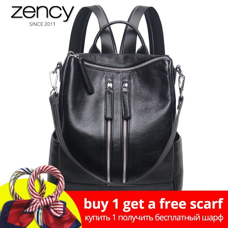 Zency Célèbre flambant neuf Style Femmes Véritable sac à dos en cuir De Mode Simple Sacs de Voyage Femelle Sac À Dos Cartables Preppy