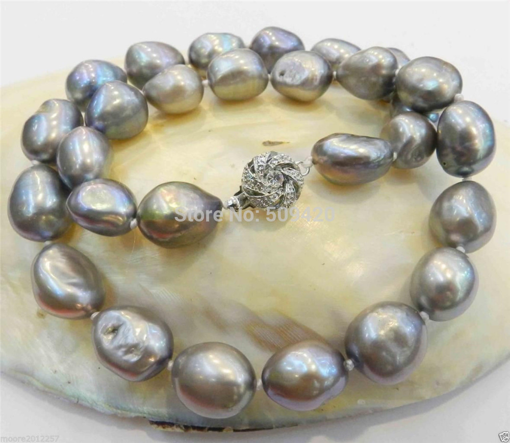 ~~ W&O667 >>Amazing! 10-12mm south sea Natural gray baroque Fresh water Pearls Necklace
