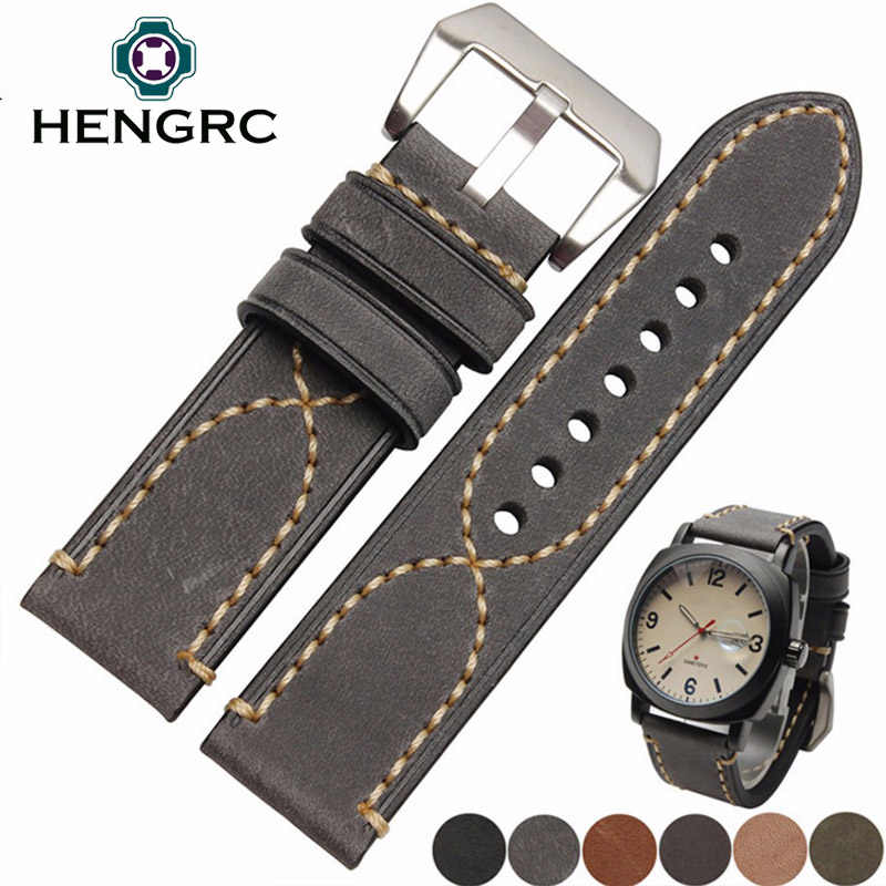 Italia Genuine Leather Watch Band Tali untuk Panerai 22 Mm 24 Mm Watchband Wanita Pria Kulit Sapi Gelang Gesper Stainless-Steel