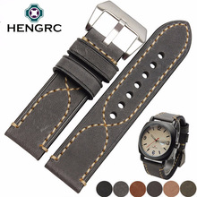 Italy Genuine Leather Watch Band Strap For Panerai 22mm 24mm Watchbands Lady Men Cowhide Bracelet Stainless Steel Buckle цена