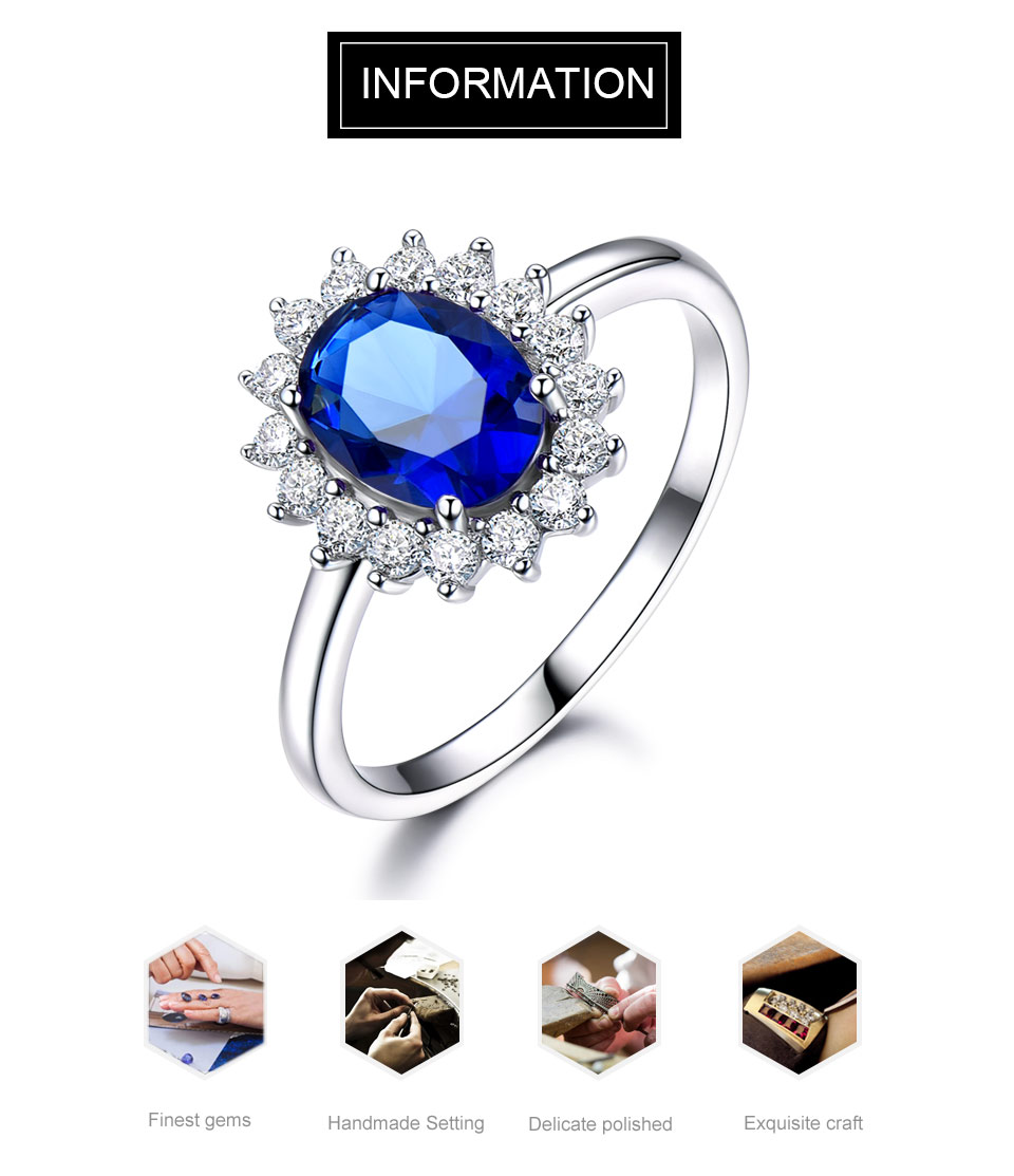 HTB1rPTFkkKWBuNjy1zjq6AOypXaU UMCHO Luxury Blue Sapphire Princess Diana Rings for Women Genuine 925 Sterling Silver Romantic Engagement Ring Wedding Jewelry