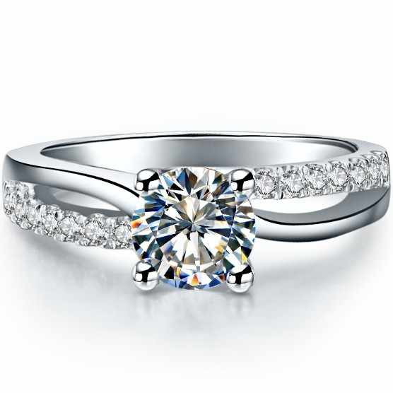 ทดสอบบวก 1CT Brilliant Moissanite แหวนเพชรสำหรับผู้หญิง Clarity VVS1 รักสัญญาเครื่องประดับสำหรับสาว