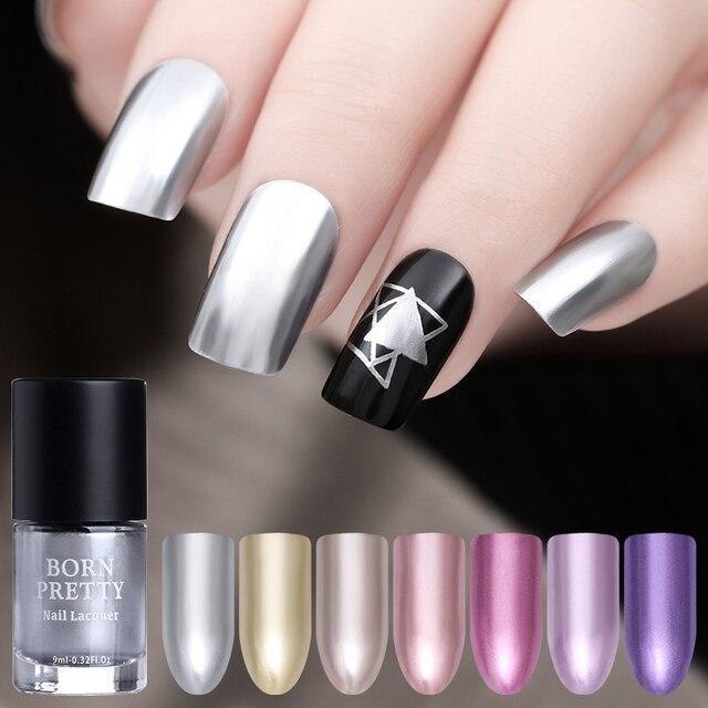 BORN PRETTY 9ml Mirror Effect Metallic Nail Polish Purple Rose Gold Silver Chrome Manicure Art