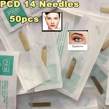 50pcs PCD 14 Pin Tattoo Needles Permanent Eyebrow Makeup Manual Tattoo Bevel Blades 14 Needles For Tattoo Needles
