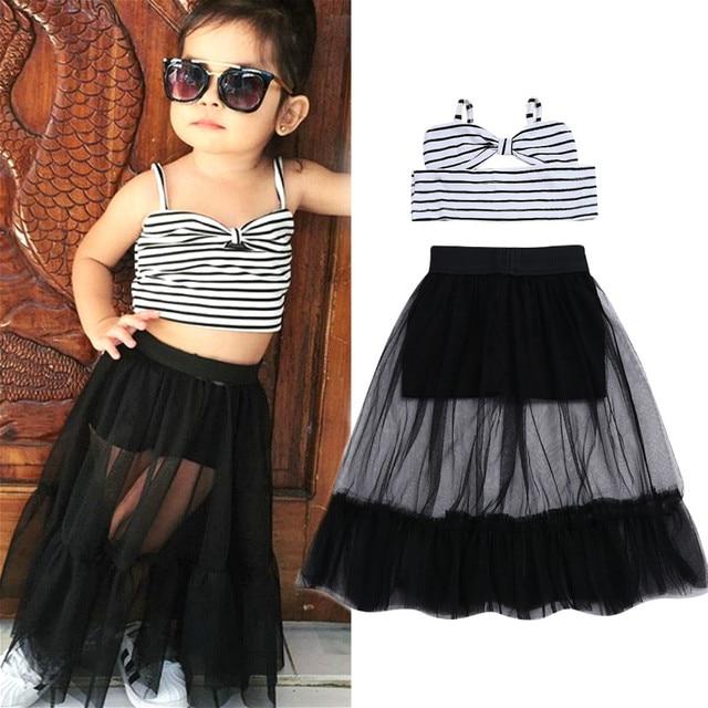 2019 Thời Trang Toddler Kid Bé Cô Gái Ăn Mặc Mùa Hè Không Tay Crop Tops Tulle Váy Tutu Dresses Trẻ Em Bé Gái Quần Áo Bộ